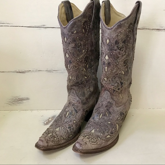 6a5891203a4 Corral Studded Bone Inlay Crater Cowgirl Boots